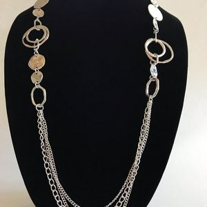 Jewelry - Long hanging circle shaped silver necklace